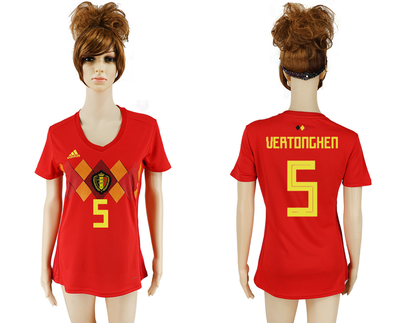 2018 World Cup National Belgium home aaa version women 5 soccer jersey