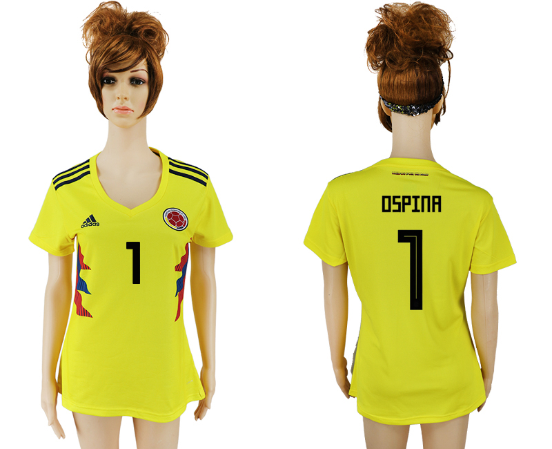 2018 World Cup National Colombia home aaa version womens 1 yellow soccer jersey
