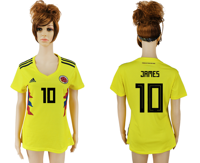 2018 World Cup National Colombia home aaa version womens 10 yellow soccer jersey