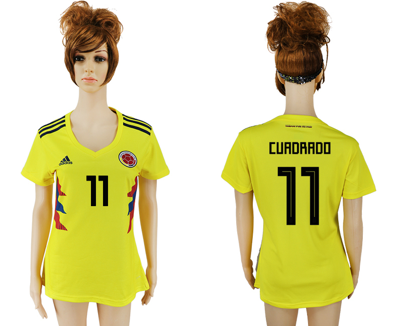2018 World Cup National Colombia home aaa version womens 11 yellow soccer jersey