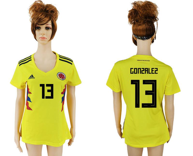 2018 World Cup National Colombia home aaa version womens 13 yellow soccer jersey