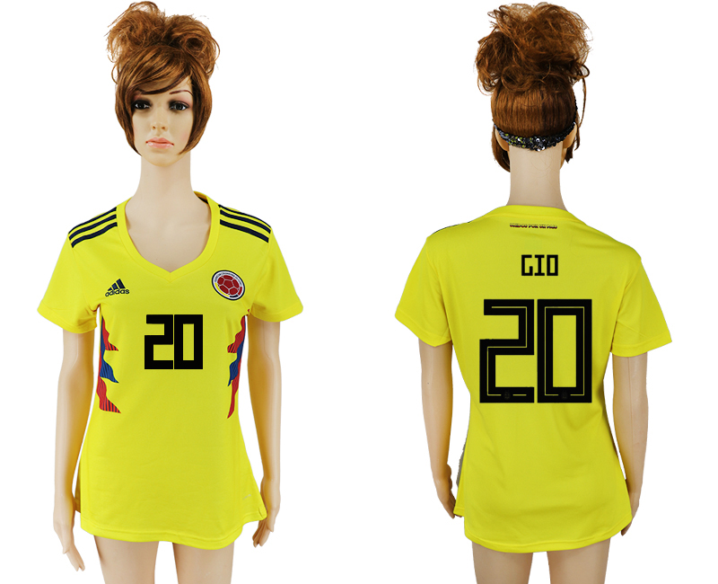 2018 World Cup National Colombia home aaa version womens 20 yellow soccer jersey