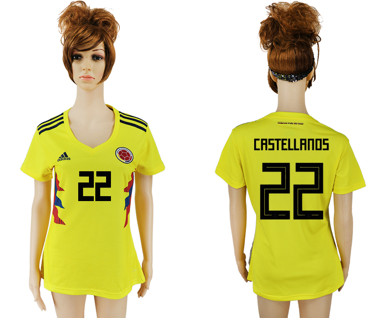 2018 World Cup National Colombia home aaa version womens 22 yellow soccer jersey