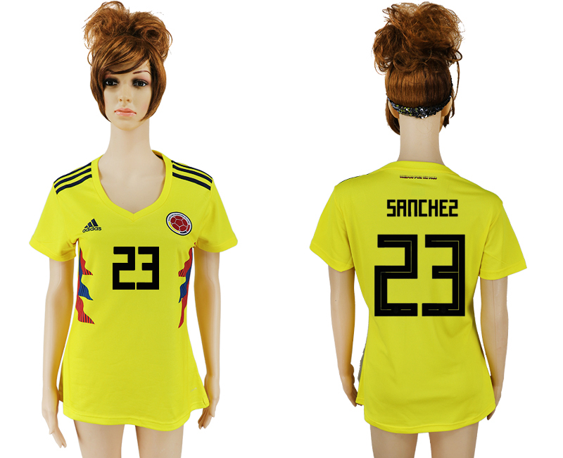 2018 World Cup National Colombia home aaa version womens 23 yellow soccer jersey