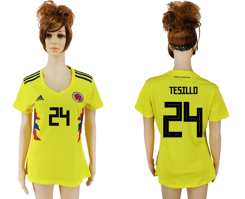 2018 World Cup National Colombia home aaa version womens 24 yellow soccer jersey
