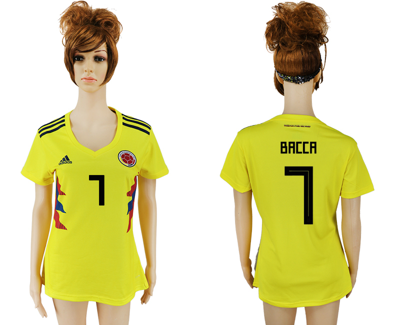 2018 World Cup National Colombia home aaa version womens 7 yellow soccer jersey