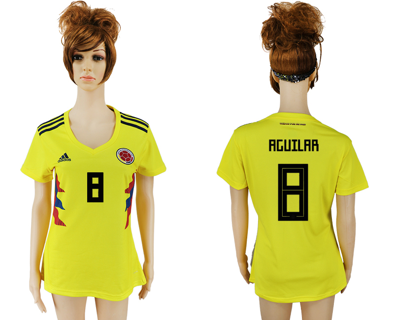 2018 World Cup National Colombia home aaa version womens 8 yellow soccer jersey