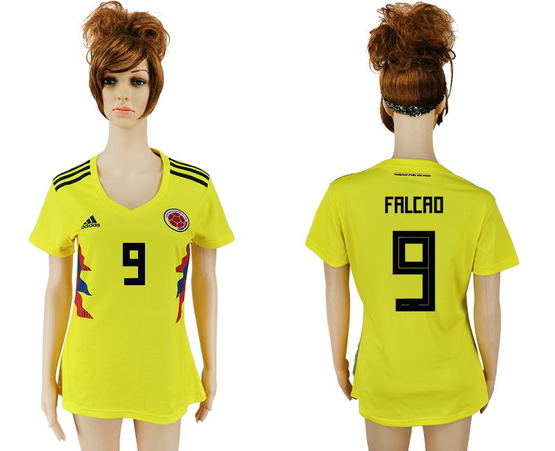 2018 World Cup National Colombia home aaa version womens 9 yellow soccer jersey