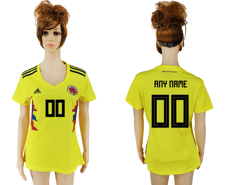 2018 World Cup National Colombia home aaa version womens customized yellow soccer jersey