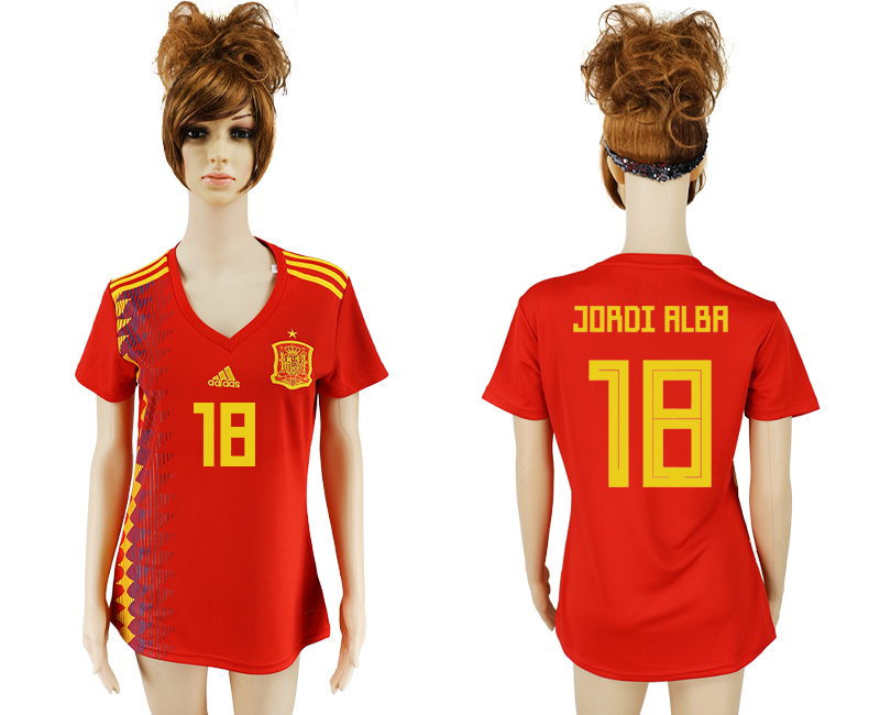 2018 World Cup National Spain home aaa version women 18 soccer jersey
