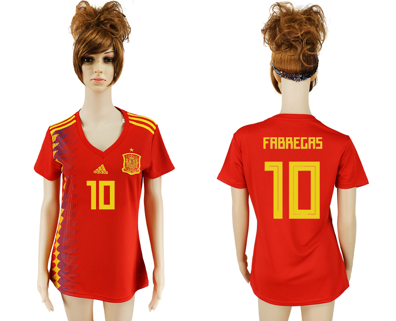 2018 World Cup National Spain home aaa version women 10 soccer jersey