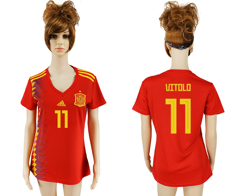 2018 World Cup National Spain home aaa version women 11 soccer jersey
