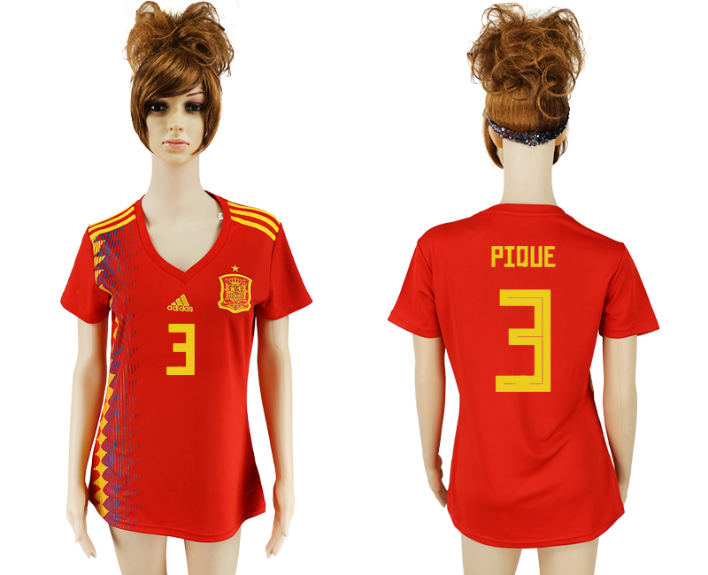 2018 World Cup National Spain home aaa version women 3 soccer jersey