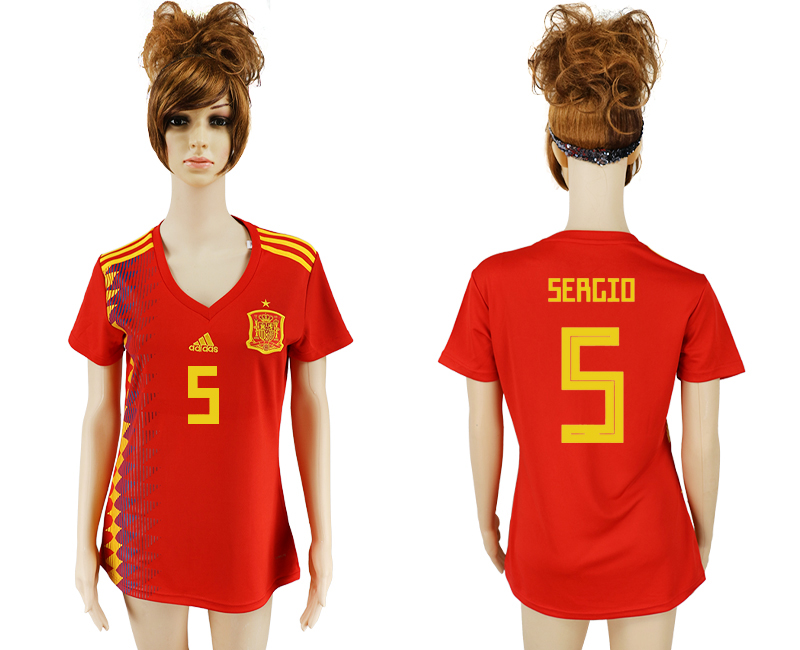 2018 World Cup National Spain home aaa version women 5 soccer jersey