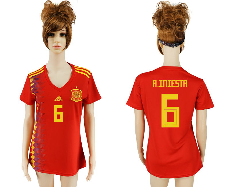 2018 World Cup National Spain home aaa version women 6 soccer jersey