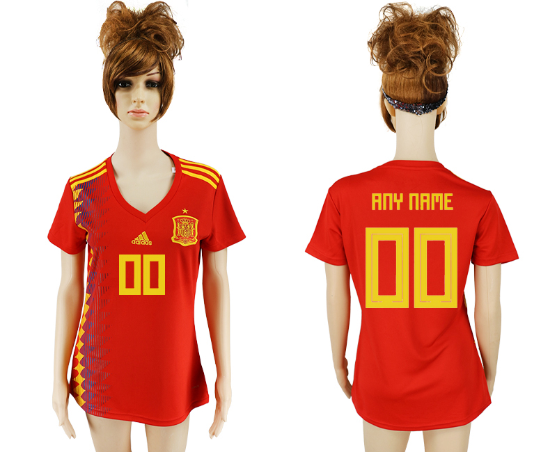 2018 World Cup National Spain home aaa version women customized soccer jersey