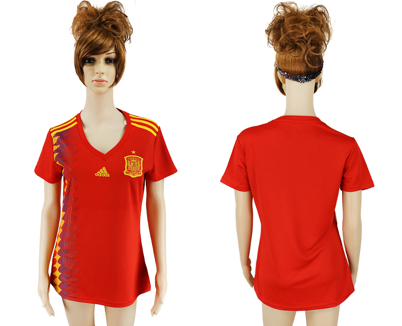 2018 World Cup National Spain home aaa version women soccer jersey