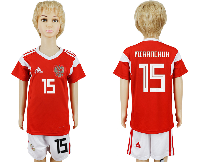 2018 World Cup Russia home kids 15 red soccer jersey