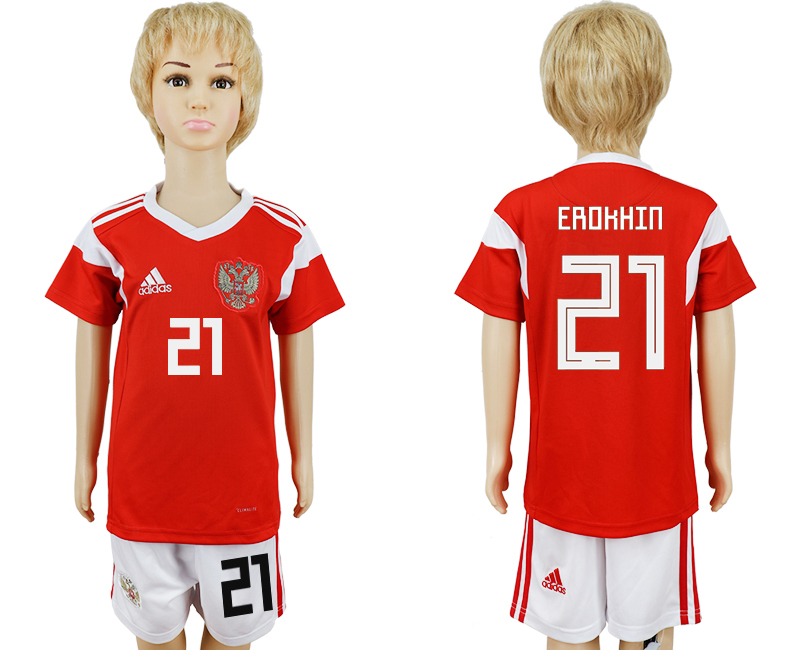 2018 World Cup Russia home kids 21 red soccer jersey