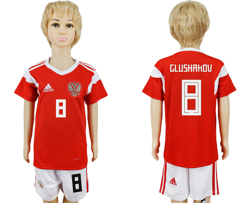 2018 World Cup Russia home kids 8 red soccer jersey