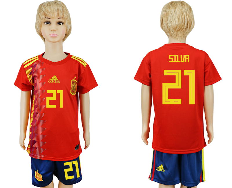 2018 World Cup Spain home kids 21 red soccer jersey