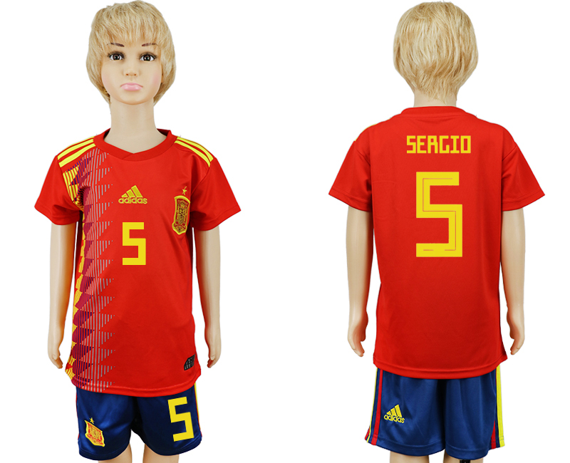 2018 World Cup Spain home kids 5 red soccer jersey