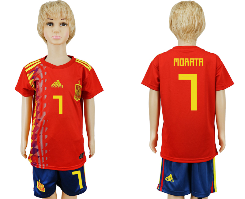 2018 World Cup Spain home kids 7 red soccer jersey