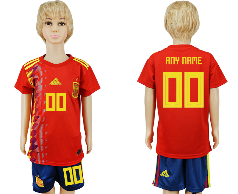 2018 World Cup Spain home kids customized red soccer jersey