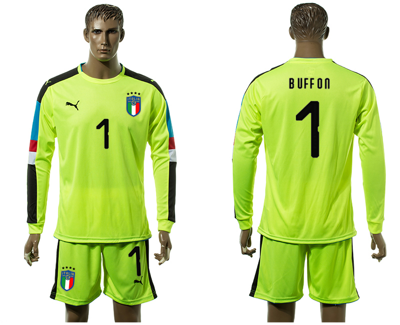 Men 2017-2018 National Italy Fluorescent green long sleeved Goalkeeper 1 soccer jersey