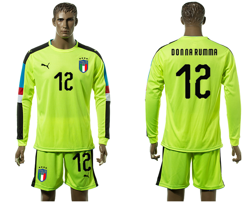 Men 2017-2018 National Italy Fluorescent green long sleeved Goalkeeper 12 soccer jersey