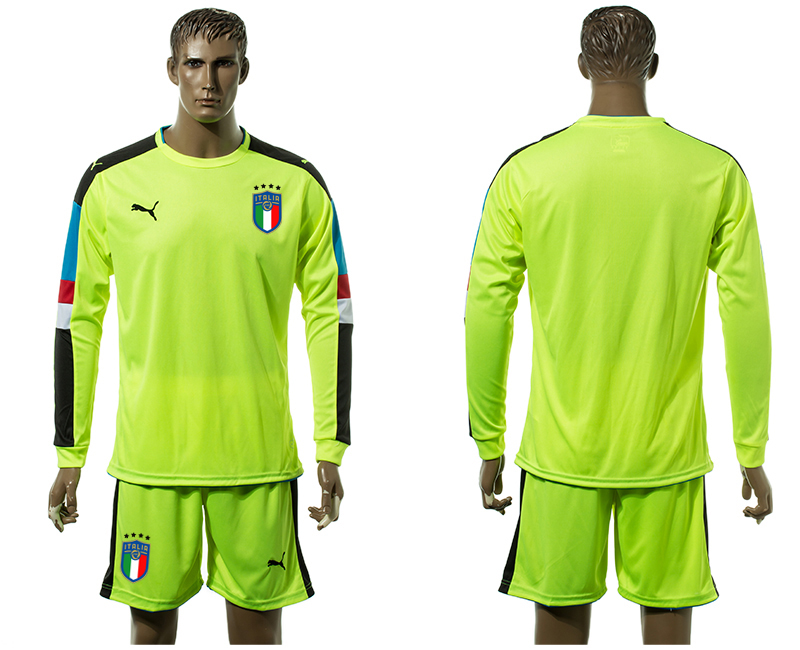 Men 2017-2018 National Italy Fluorescent green long sleeved Goalkeeper blank soccer jersey
