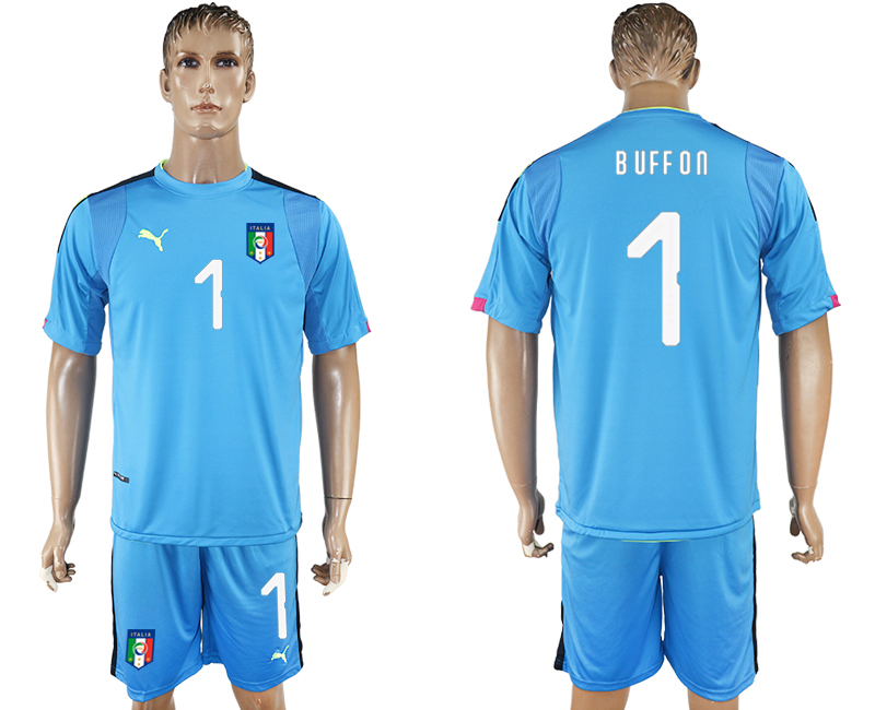 Men 2017-2018 National Italy Lake blue goalkeeper 1 soccer jersey