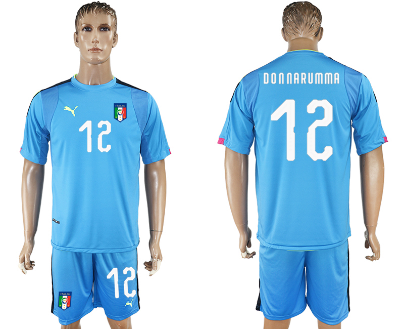 Men 2017-2018 National Italy Lake blue goalkeeper 12 soccer jersey