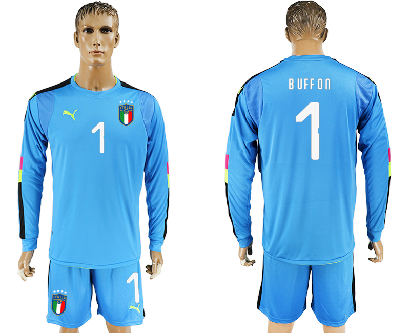 Men 2017-2018 National Italy Lake blue goalkeeper Long sleeve 1 soccer jersey