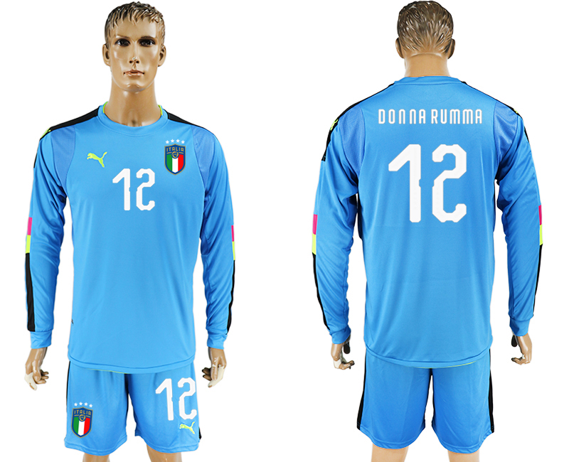 Men 2017-2018 National Italy Lake blue goalkeeper Long sleeve 12 soccer jersey