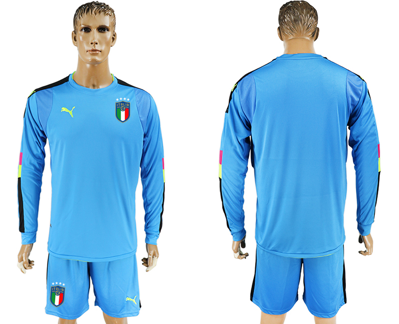 Men 2017-2018 National Italy Lake blue goalkeeper Long sleeve blank soccer jersey