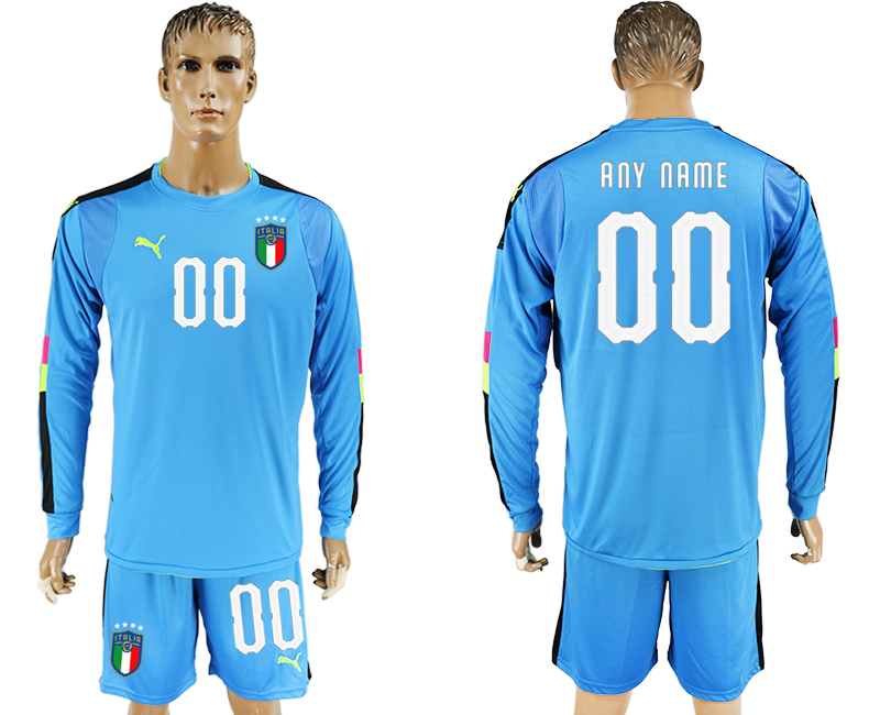 Men 2017-2018 National Italy Lake blue goalkeeper Long sleeve customized soccer jersey