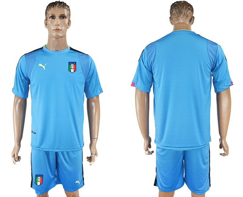 Men 2017-2018 National Italy Lake blue goalkeeper soccer jersey