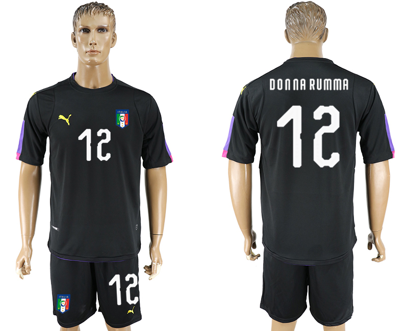 Men 2017-2018 National Italy black goalkeeper 12 soccer jersey