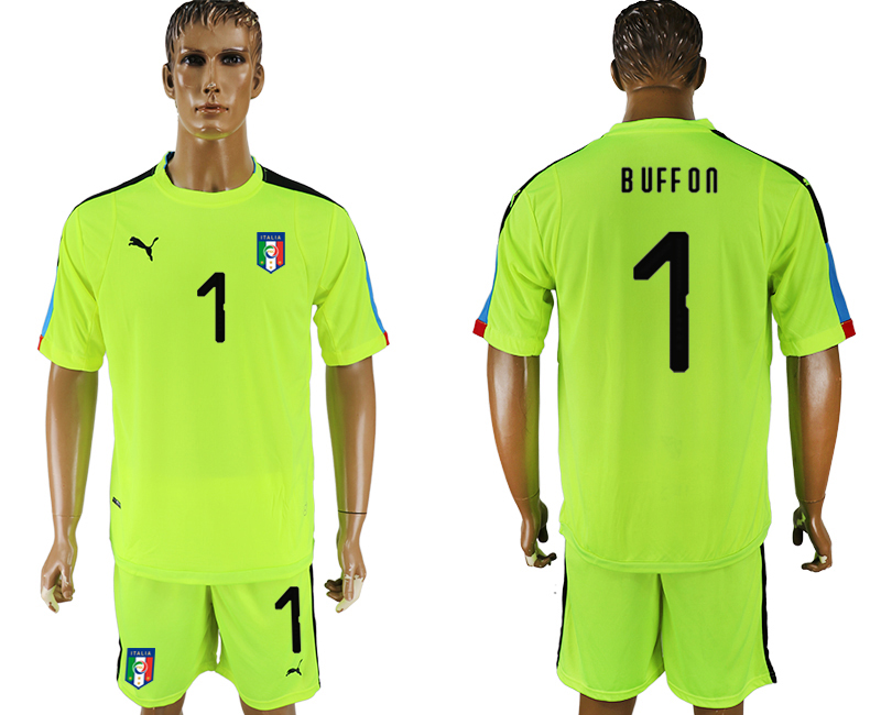 Men 2017-2018 National Italy fluorescent green goalkeeper 1 soccer jersey
