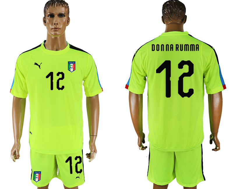 Men 2017-2018 National Italy fluorescent green goalkeeper 12 soccer jersey