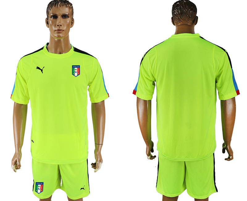 Men 2017-2018 National Italy fluorescent green goalkeeper soccer jersey