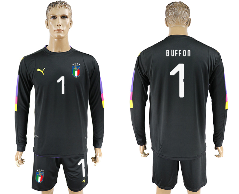 Men 2017-2018 National Italy goalkeeper black long sleeve 1 soccer jersey