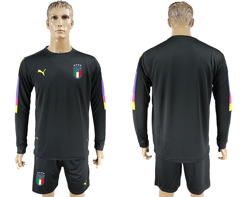 Men 2017-2018 National Italy goalkeeper black long sleeve blank soccer jersey