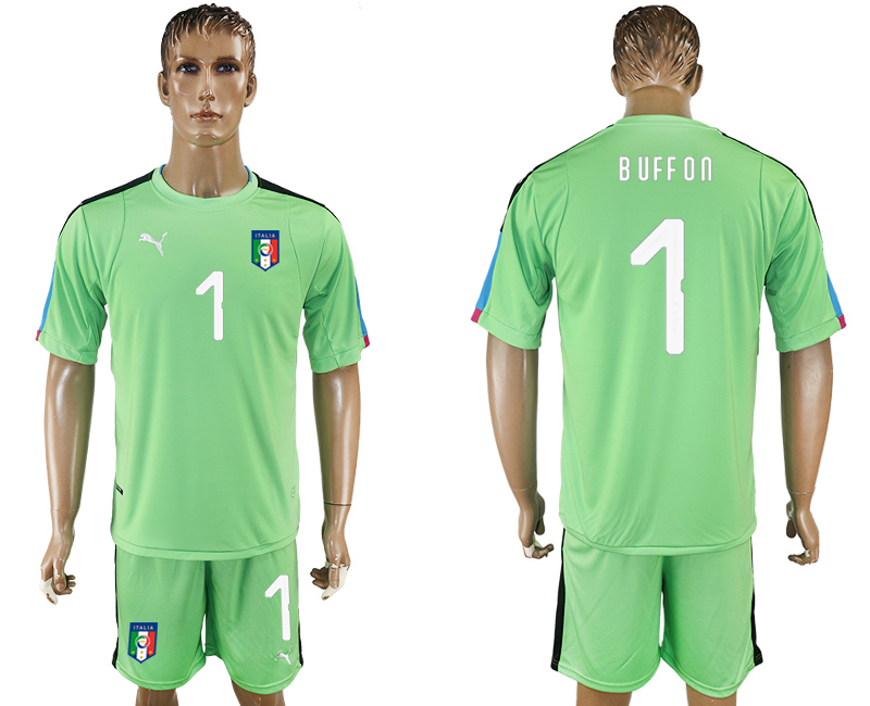 Men 2017-2018 National Italy green goalkeeper 1 soccer jersey
