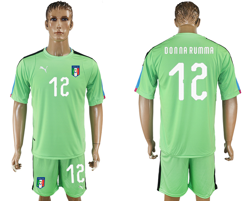 Men 2017-2018 National Italy green goalkeeper 12 soccer jersey