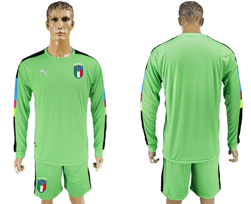 Men 2017-2018 National Italy green goalkeeper long sleeve blank soccer jersey