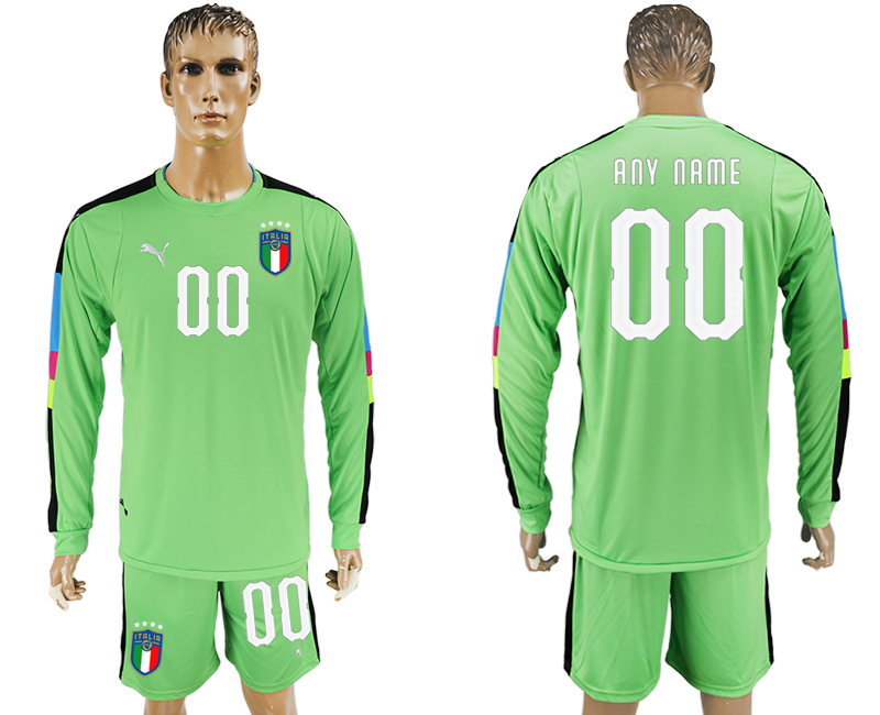 Men 2017-2018 National Italy green goalkeeper long sleeve customized soccer jersey