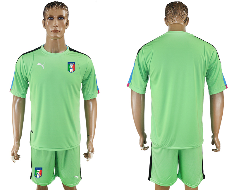 Men 2017-2018 National Italy green goalkeeper soccer jersey
