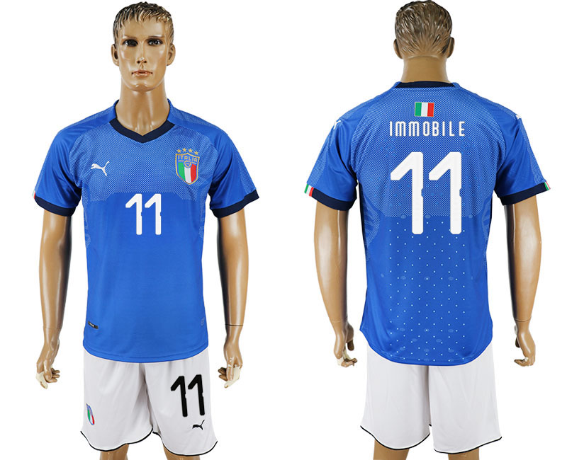 Men 2017-2018 National Italy home 11 blue soccer jersey